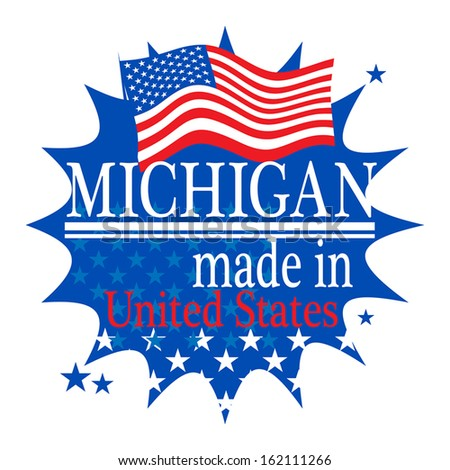 Label with flag and text Made in Michigan, vector illustration - stock vector