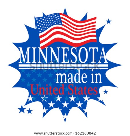 Label with flag and text Made in Minnesota, vector illustration - stock vector