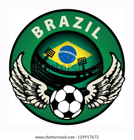 Label with football and name Brazil, vector illustration - stock vector