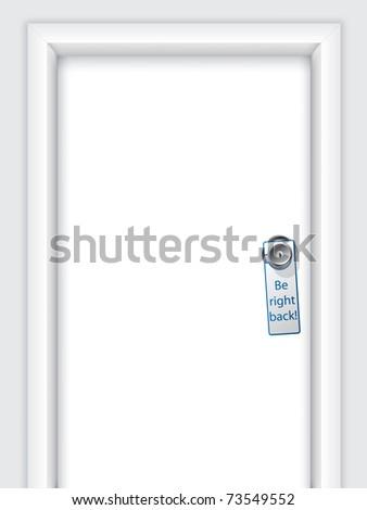Label with message on door knob - stock vector