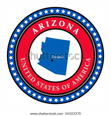 Label with name and map of Arizona, vector illustration