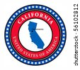 Label with name and map of California, vector illustration - stock photo