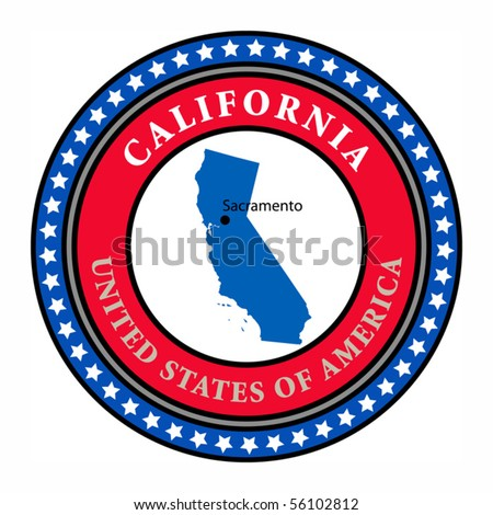 Label with name and map of California, vector illustration - stock vector