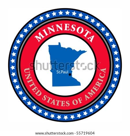 Label with name and map of Minnesota, vector illustration