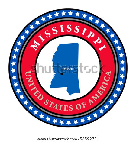 Label with name and map of Mississippi, vector illustration