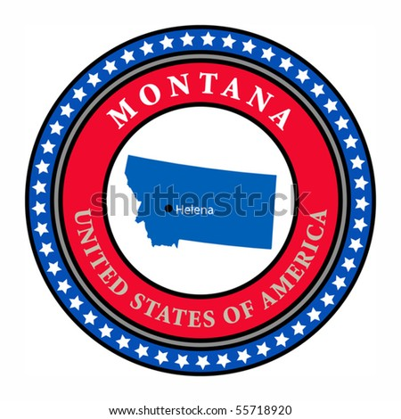 Label with name and map of Montana, vector illustration