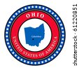 Label with name and map of Ohio, vector illustration - stock vector