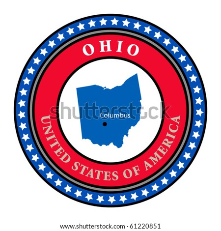 Label with name and map of Ohio, vector illustration
