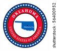 Label with name and map of Oklahoma, vector illustration - stock photo