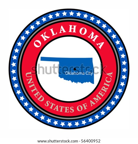 Label with name and map of Oklahoma, vector illustration
