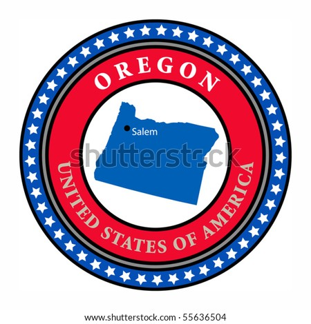Label with name and map of Oregon, vector illustration