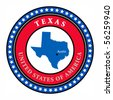 Label with name and map of Texas, vector illustration - stock vector