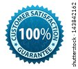Label with text Customer satisfaction guarantee 100 percent icon or symbol isolated on white background. Vector - stock