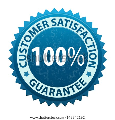 Label with text Customer satisfaction guarantee 100 percent icon or symbol isolated on white background. Vector - stock vector