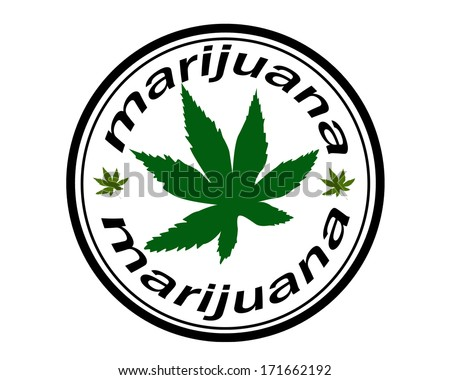 Label with text Marijuana vector illustration