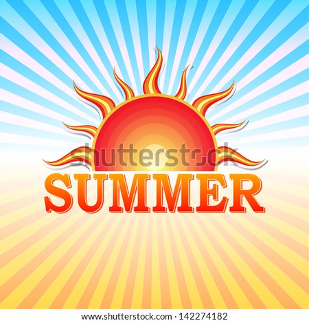 label with text summer and drawn sun in yellow red gradient and blue orange rays, vector - stock vector