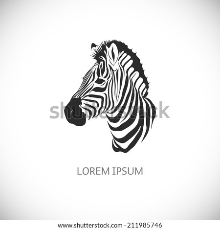 Label with the head of a zebra. Vector. - stock vector