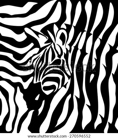 Label with the head of a zebra. Vector