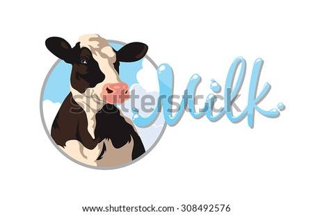 Label with the image of a cow and the words milk - stock vector
