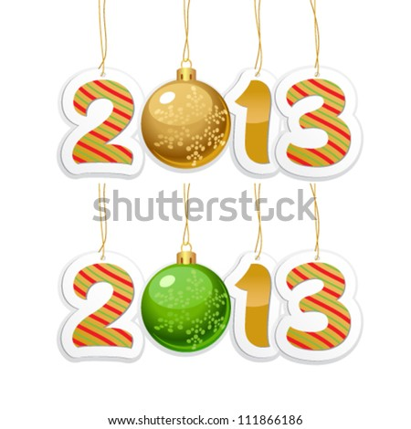 Label with the number 2013 with New Year's ball on a white background - stock vector