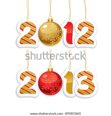Label with the numbers 2012 and 2013 with New Year's ball on a white background - stock vector