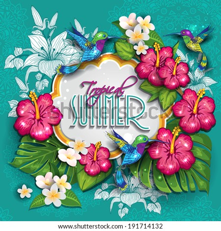 Label with  tropical floral useful for the summer. The writing can be removed- editable-transparency blending effects and gradient mesh-EPS 10. - stock vector