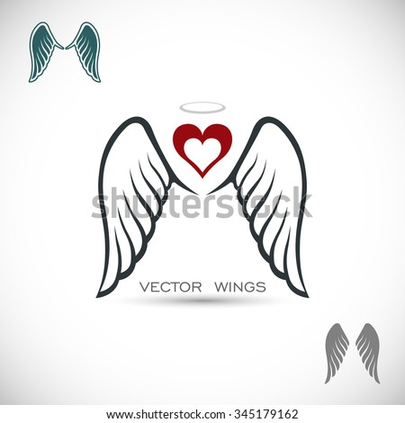 Label with wings and heart - stock vector