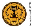 Label with winner cup and the word winner written inside, vector illustration - stock vector