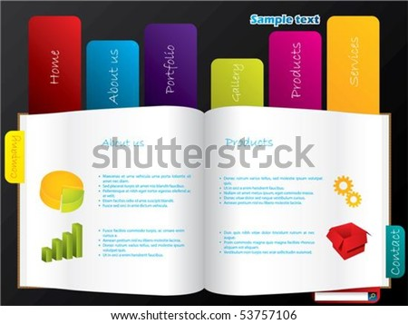 Labeled book web template - stock vector
