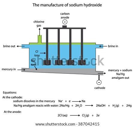 Labelled Diagram Industrial Manufacture Sodium Hydroxide Stock