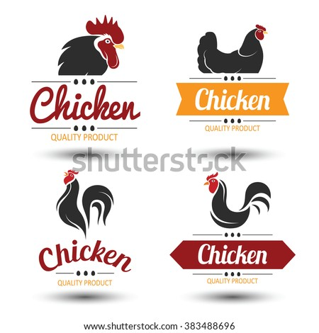 labels and badges set of chicken meat and eggs,vector illustration - stock vector