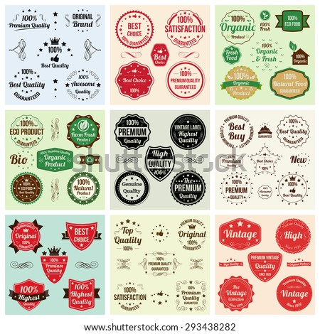 Labels and Logotypes design set. Retro Typography design. Badges, Logos, Borders, Arrows, Ribbons, Icons and Objects