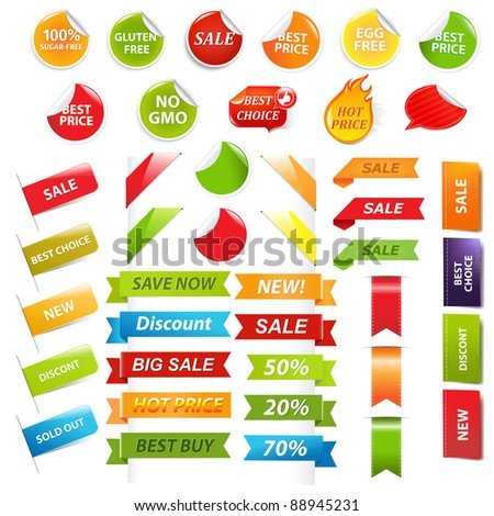 Labels And Web Ribbons Set, Isolated On White Background, Vector Illustration - stock vector
