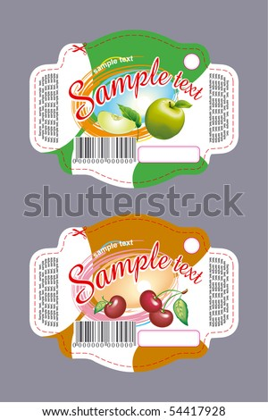 Labels - cherry and apple - stock vector