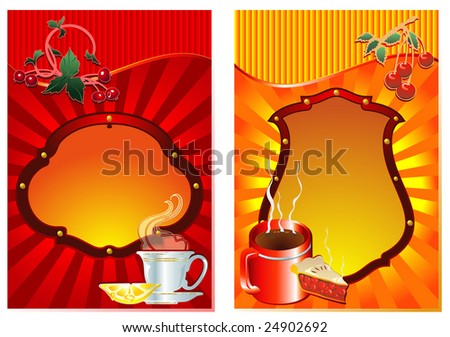 Labels for tea and coffee. Menu price list - stock vector