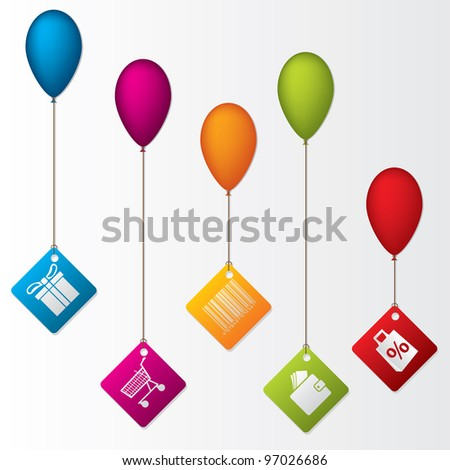 Labels hanging on color balloons rising high - stock vector