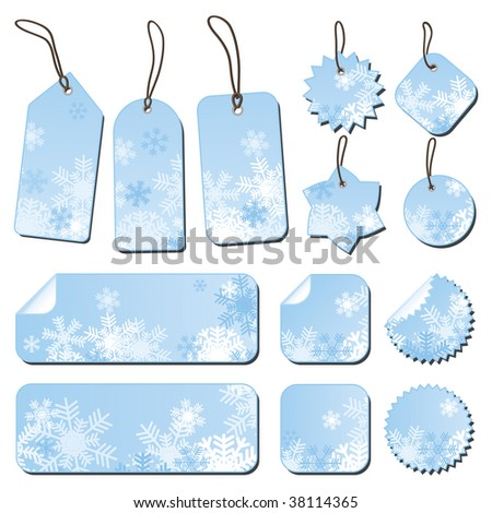 Labels in blue with snowflakes. - stock vector
