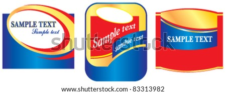 Labels in red and blue colors - stock vector