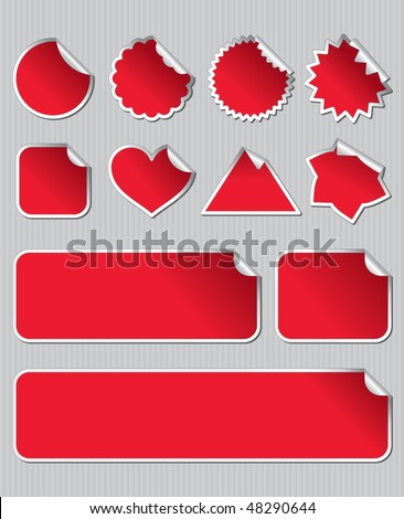 Labels in red and white - stock vector