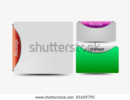 Labels of message box on the edge, web page layout design. - stock vector