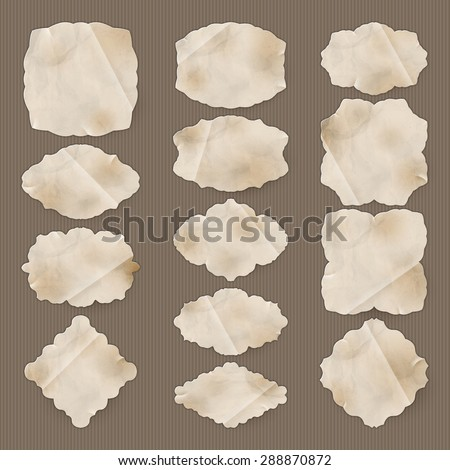 Labels, old paper texture Set. EPS 10 vector file included - stock vector
