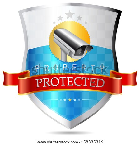 Labels - Security camera, property protected - stock vector