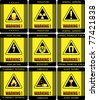 Labels. Set of warning signs vector work . - stock photo