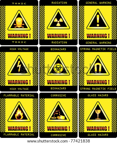 Labels. Set of warning signs vector work . - stock vector