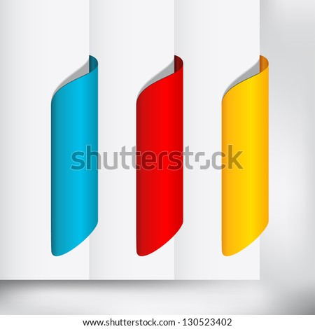 Labels / Stickers on the side of the (web) page - stock vector