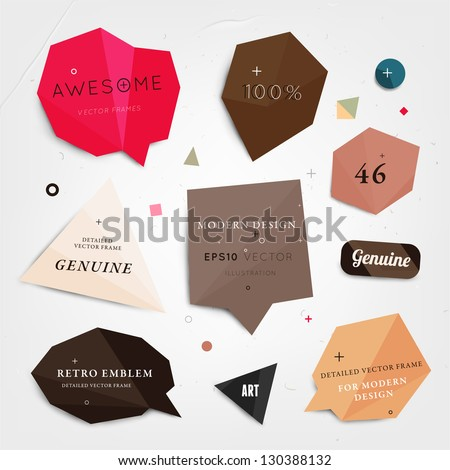 Labels vector set, modern style. Abstract futuristic design bubbles collection, vector. - stock vector
