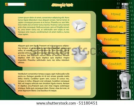 Labels website template with zipper - stock vector