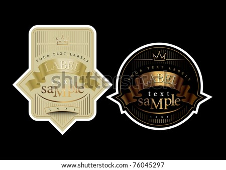 Labels with a golden ribbon - stock vector