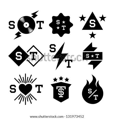 labels with  lightning, shield, vinyl, heart - stock vector