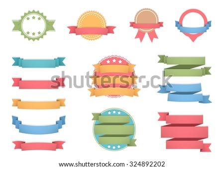 Labels with ribbons set, vector eps10 illustration - stock vector